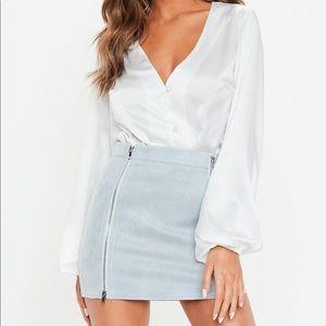 Missguided Petite Blue Faux Suede Mini Skirt